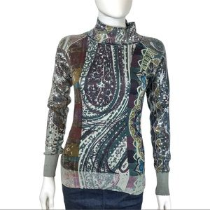 Etro Sequined Paisley High Neck Cashmere Sweater
